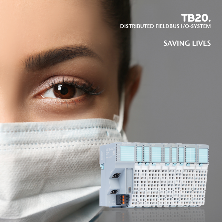Thanks to the TB20 I/O system from Helmholz, machines can quickly be converted to produce protective masks